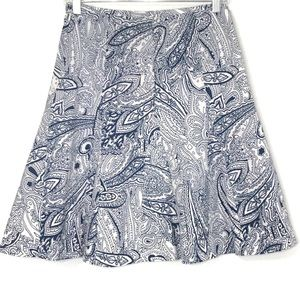 Talbots Blue Paisley Print A-Line Career Skirt 2P